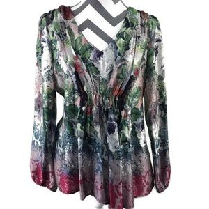 Sundance V Neck Sugarplum Garden 100% Silk Blouse